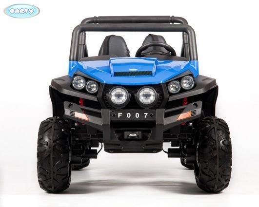 Электромобиль двухместный BUGGY (Т009ТТ) синий (полный привод, резиновые колеса, кожаное кресло, пульт)