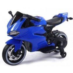 Детский электромотоцикл Ducati 12V- FT-1628 синий (колеся светящиеся, сиденье кожа, музыка, страховочные колеса, ручка газа)